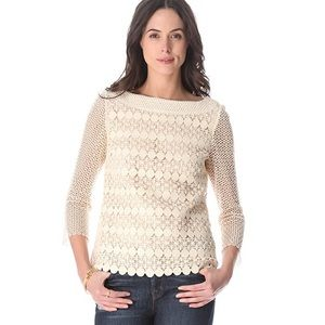 Tory Burch Charlotte Crochet Blouse Top Size 6